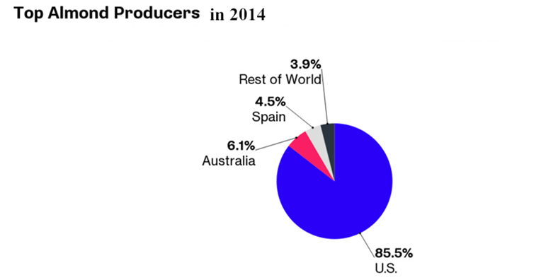 Australia is the second largest almond producer in the world