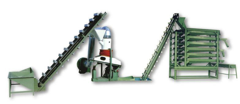 kernels screening machine connected with kernels cleaning machine
